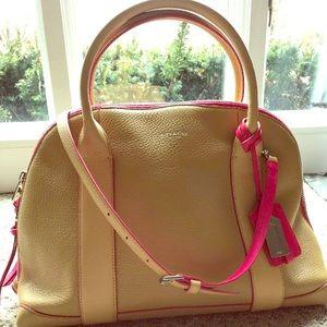 COACH Bleecker Preston Handbag Leather Camel/Pink